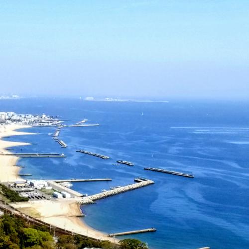 ロープウェイから見える須磨海岸